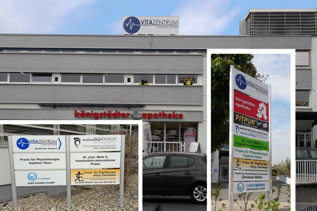 Kunde: ImmoGlobal . Trebur . Beschilderung von Vitazentrum in Rüsselsheim-Königstädten