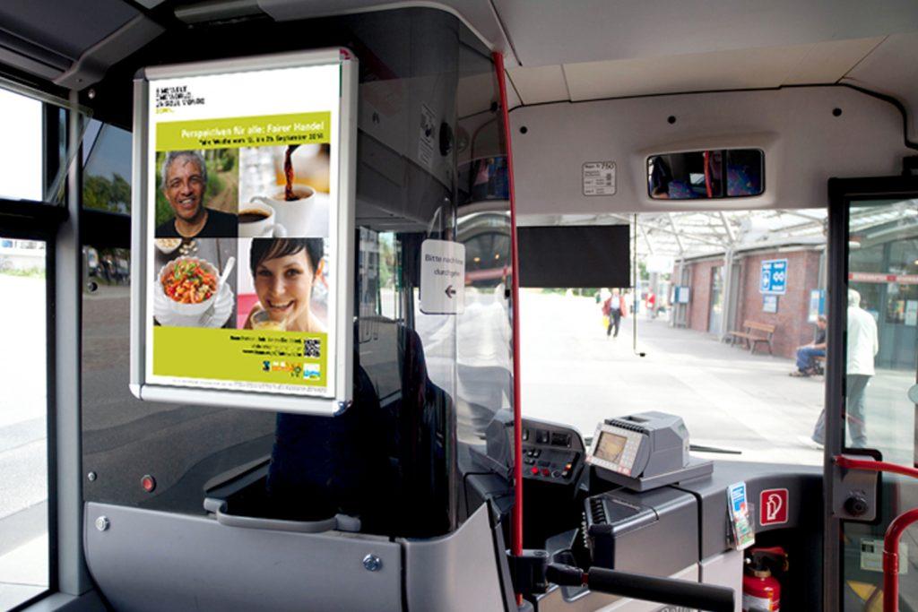 Kunde: Verkehrswerbung Lloyd Schiffmann GmbH & Co. KG . Bonn . Fahrertrennwandplakate für Bus und Bahn