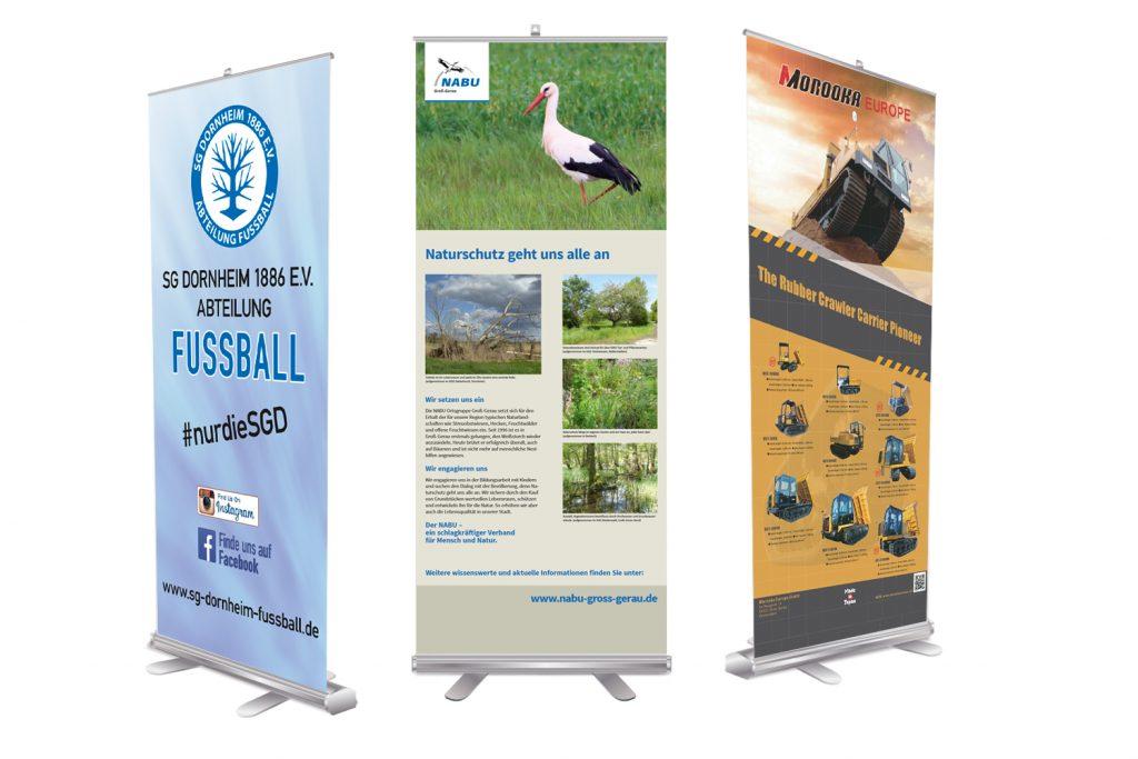 Roll-Up-Displays für Ihre mobile Werbung – auf dem Messestand, bei Präsentationen oder Promotion-Aktionen inkl. Gestell und Transporttasche